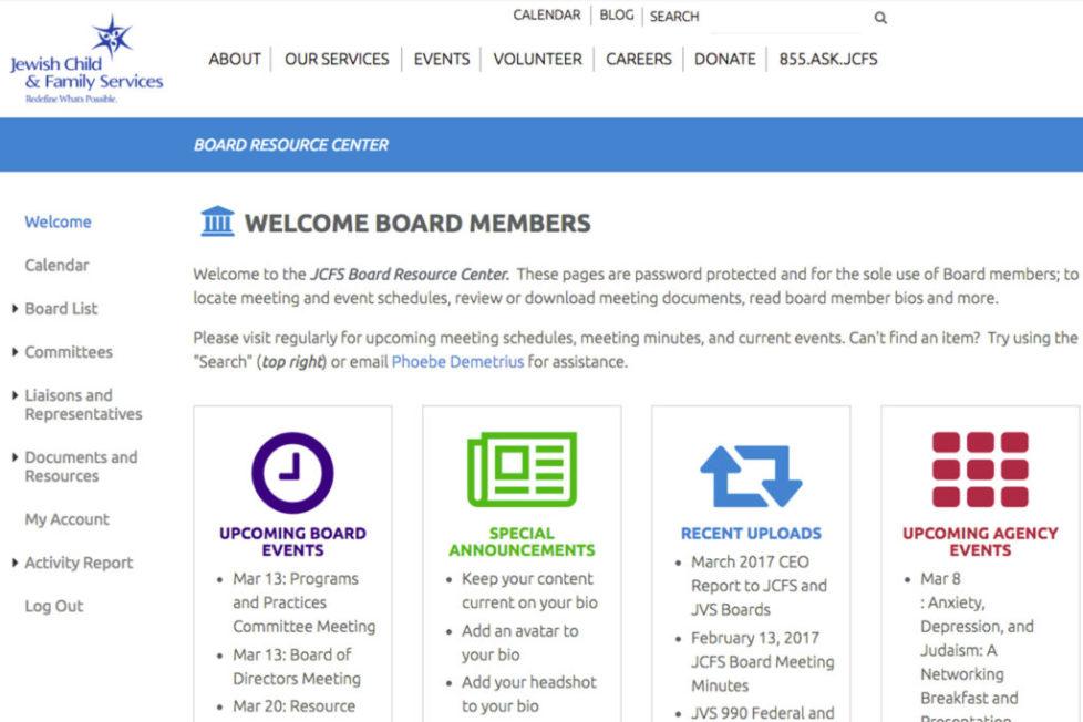 JCFS Board Resource Center LAUNCH